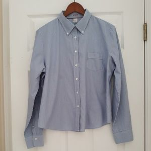 J. Crew Blue Striped Oxford Shirt XL